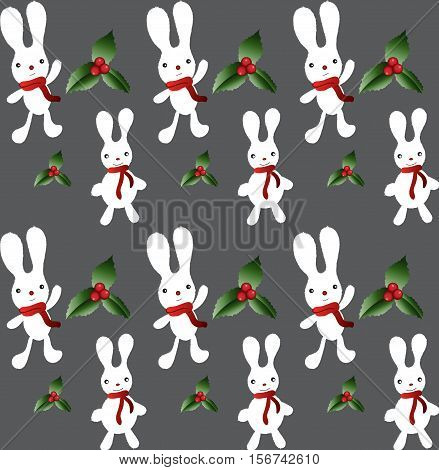 Vector Christmas cartoon bunnies seamless pattern. Fluffy funny bunnies in red scarves among mistletoe leaves and berries