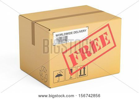 Free delivery concept. Cardboard box 3D rendering isolated on white background