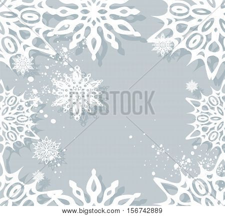 Vector Christmas seamless background with white snowflakes.
