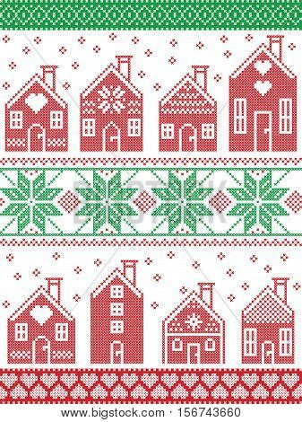 Scandinavian style and Nordic culture inspired Christmas and festive winter pattern in cross stitch style with gingerbread house village including decorative elements in red, white , green