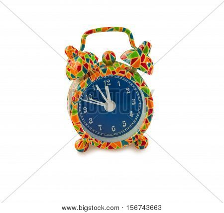 Funny colorful alarm clock isolated over white background with clipping path.
