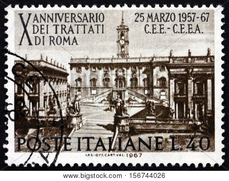 ITALY - CIRCA 1967: a stamp printed in Italy shows Seat of Parliament on Capitoline Hill Rome 10th Anniversary of the Treaty of Rome Establishing the European Common Market circa 1967