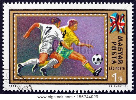 HUNGARY - CIRCA 1972: a stamp printed in Hungary shows Soccer Play and British Flag European Soccer Championship 1972 circa 1972