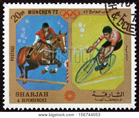 SHARJAH - CIRCA 1972: a stamp printed in Sharjah UAE shows Olympic Games 1972 Munich Germany circa 1972