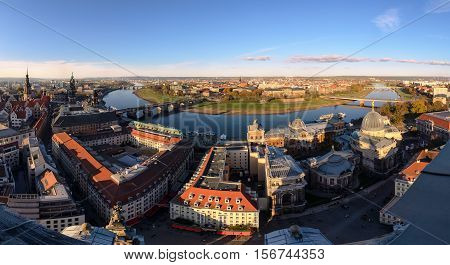 View from top on Dresden city Germany. Europe.