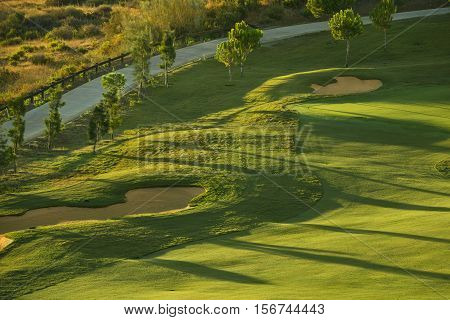 Sand bunkers on the green golf course at sunrise