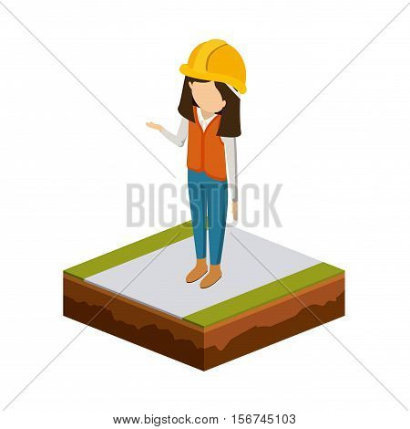 Girl of under construction icon. Isometric 3d structure and perspective theme. Isolated design. Vector illustration