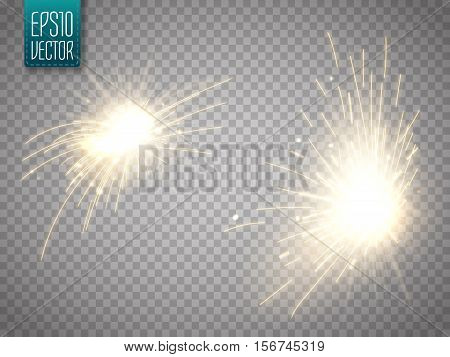 Set of metal welding with sparks or sparklers isolated on transparent background. Vector illustration
