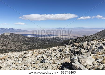 Desert mountain view from Wheeler Peak trail at Great Basin National Park in Eastern Nevada.
