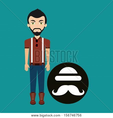 young hipster man bowler hat and mustache vector illustration eps 10