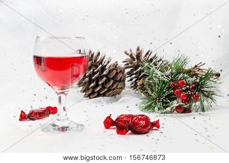 Luxury Wine And Chocolate Sweets For The Christmas Season.
