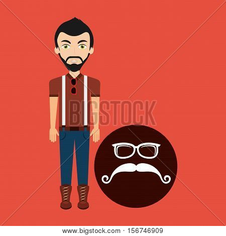 hipster style character mustaches and eyeglasses vector illustration eps 10