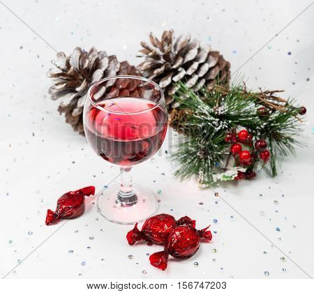 Luxury Wine And Chocolate Sweets For The Winter Christmas Celebrations.