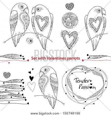 Vector Valentine day set in contour style. Outline couple of parrots in love, ornate hearts and frame isolated on white background. Holiday symbols and line art templates for Valentines design.