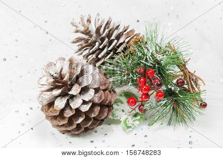 Pinecones And Berries In A Winter Christmas Scene.