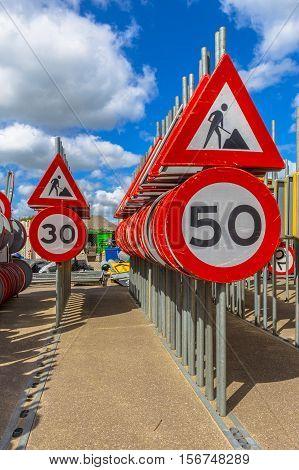 Work In Progress Speed Limit Signs
