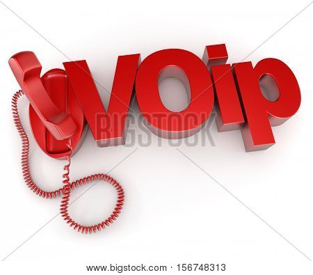 3D rendering of an unhooked telephone receiver with the word VOIP