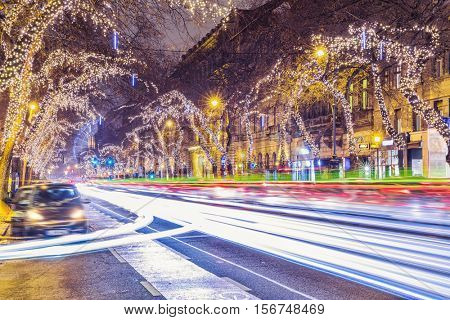 Christmas Light In Central Street Of Budapest, Hungary