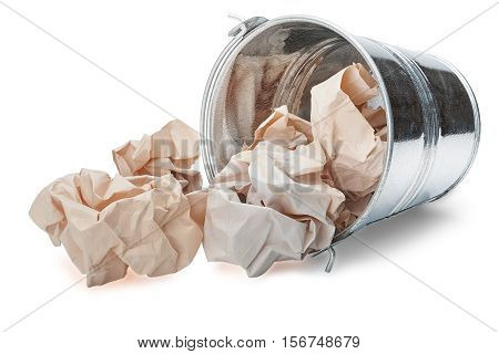 Reversed trash bin with shadow on isolated white background