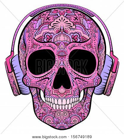 Vector colorful pink skull graphics with floral ornaments and headphones