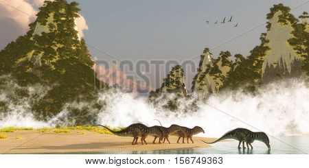 Amargasaurus Dinosaurs 3D Illustration - A herd of Amargasaurus dinosaurs come down to a lake to drink in the morning as a flock of Zhenyuanopterus Pterosaur reptiles fly over nearby mountains.