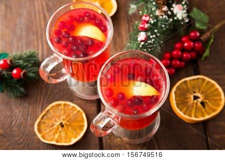 Christmas Card. Hot Spicy Christmas Drink Of Cranberry And Spice And Christmas Decorations