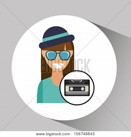 music cassette girl hipster vintage background desgin vector illustration eps 10