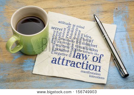 law of attraction word cloud on a napkin with cup of coffee
