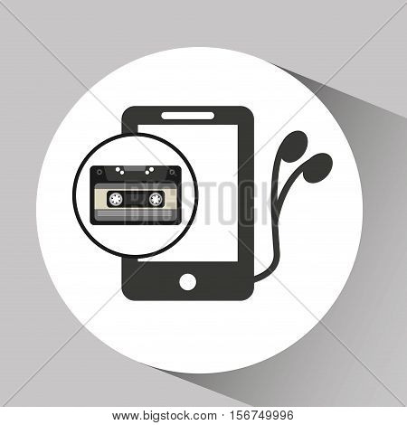 music cassette headphones vintage background desgin vector illustration eps 10