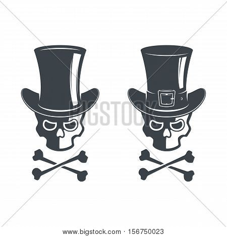 Cylinder hat with ribbon in vector. Set of skull. Design elements, icons, emblems and badges isolated on white background. Bones. Halloween. Danger