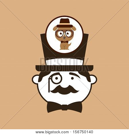 doggy hipster concept, man hipster vector illustration eps 10