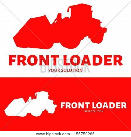 Front loader vector logo. Silhouette front loader. Brand's logo in the form of a front loader.