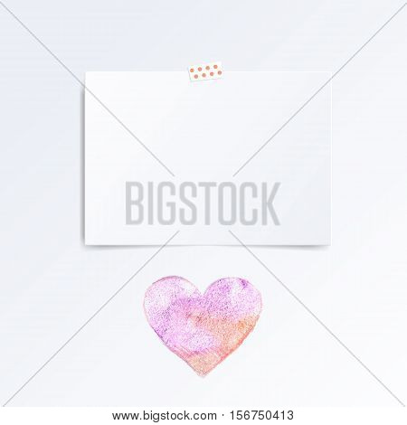 Vector white Note paper on the wall this watercolor heart. Hipster mood board template. Mock up.