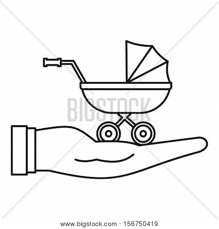 Baby pram protection icon. Outline illustration of baby pram protection vector icon for web design