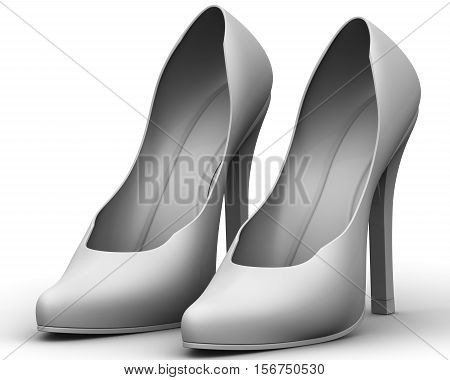 Women's high-heeled shoes. Gray women's shoes with high heels standing on a white surface. 3D Illustration. Isolated