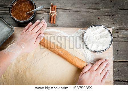 Girl Makes Homemade Cinnamon Buns