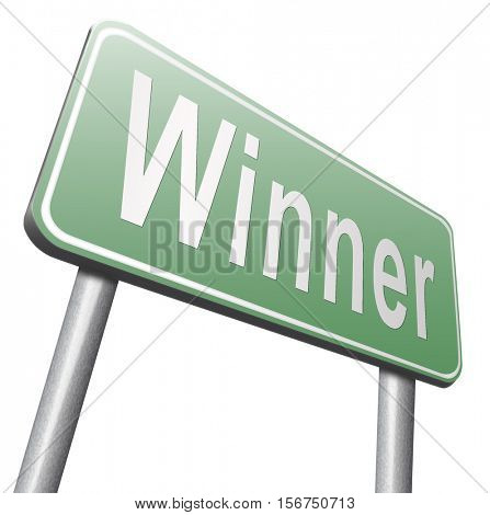 winner of medal and quiz results price and award or contest winners road sign 3D illustration, isolated, on white