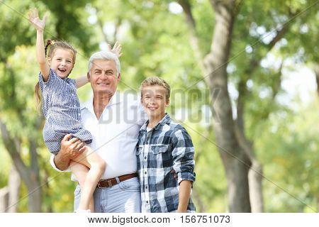 Grandfather with grandchildren in park