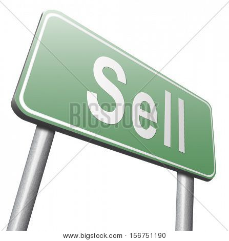 Sell products online at internet webshop, web shop selling  3D illustration, isolated, on white