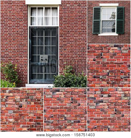 Traditional american door and window of residential brick buiding in New York, US.