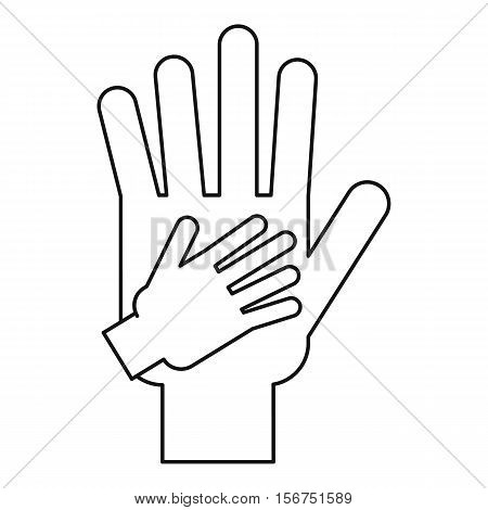 Parent and child hands together icon. Outline illustration of parent and child hands vector icon for web design