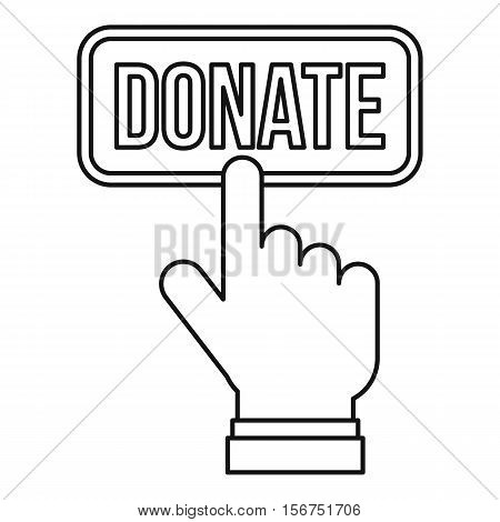 Hand presses button to donate icon. Outline illustration of hand presses button to donate vector icon for web design
