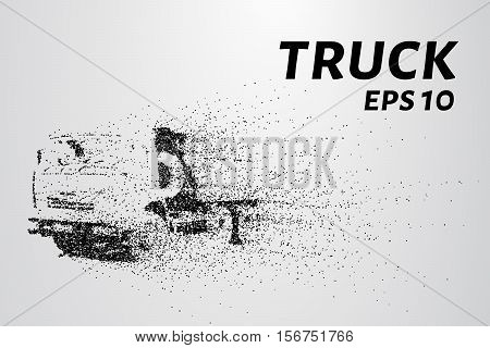 Truck of the particles. A huge truck is small circles.