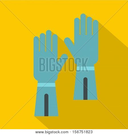 Rubber gloves for hand protection icon. Flat illustration of gloves for hand protection vector icon for web design