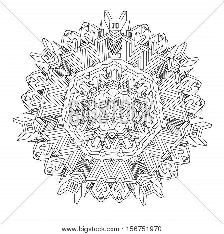 contoured drawing of a non-existent unreal city maze in mandala shape with houses, walls and stairs. Hand-drawn, doodle, vector, mandala style, detailed circle symmetry for Adult coloring book.