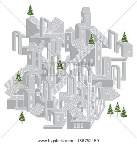 Vector drawing of non-existent unreal city maze as geometric structure, architecture style in shape of labyrinth Christmas city scene with buildings in vector. Flyer or banner element with xmas trees.