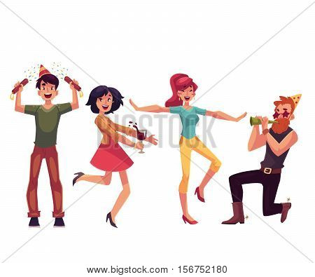 Set of friends having fun at a birthday party, cartoon vector illustration isolated on white background. Boys and girls dancing, popping party poppers, blowing birthday horns and having fun together