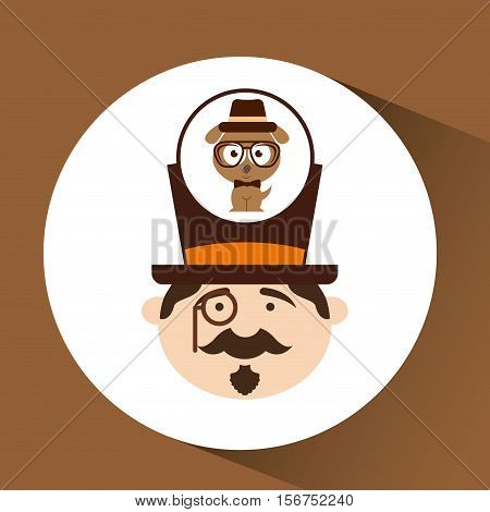 man hipster standing with hipster doggy vector illustration eps 10