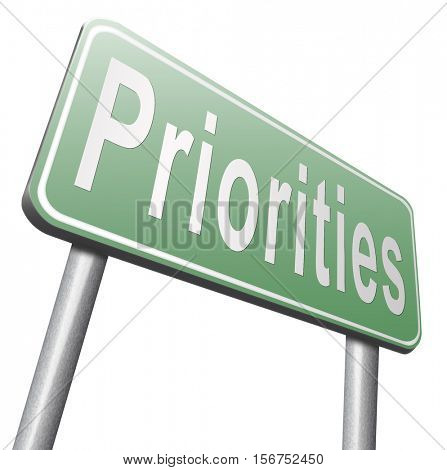 Priorities important very high urgency info lost importance crucial information top priority, road sign billboard. 3D illustration, isolated, on white