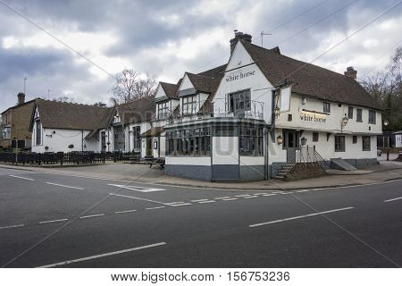 BEARSTED, KENT, UK, 15 FEBRUARY 2016 - White Horse public house in the village of Bearsted Kent UK